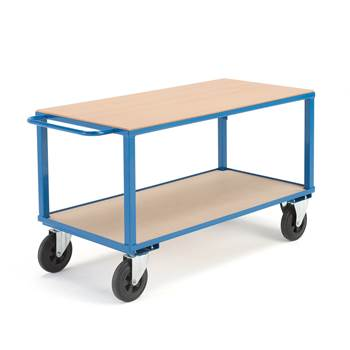 Workshop trolley, no brakes, 2 castor wheels, 600 kg load, 1400x700x830 mm