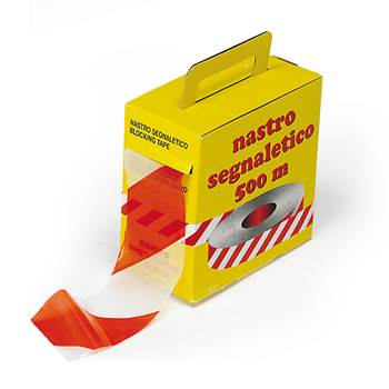 Hazard warning barrier tape: red/white