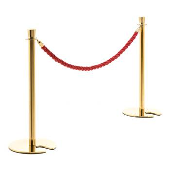 Barrier system, rope, L 1500 mm, red, brass