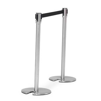 Belt barrier system, L 2000 mm, stainless post, black