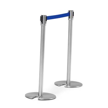 Belt barrier system,  L 2000 mm, stainless post, blue