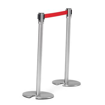 Belt barrier system,  L 2000 mm, stainless post, red