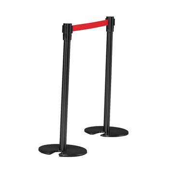 Belt barrier system, L 2000 mm, black post, red