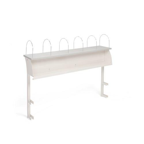 Ylähylly työpöytään, 6 välijakajaa, 2400 mm, valkoinen, harmaa levy