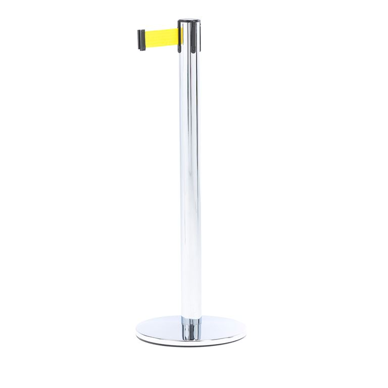 Słupek z taśmą, długość: 2300 mm, chrom, żółty