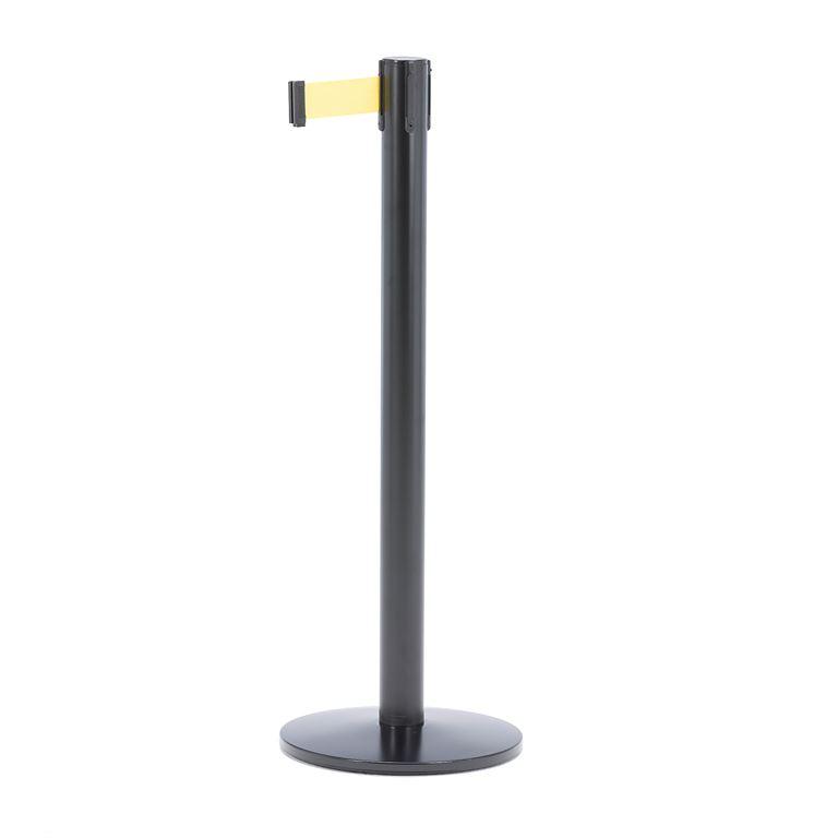 Słupek z taśmą, długość: 3650 mm, czarny, żółty