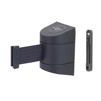 Indoor wall-mounted belt barrier, L 4600 mm, black