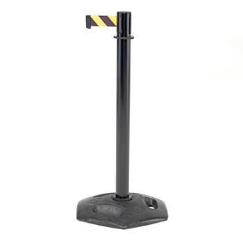 Avsperringsbånd på stolpe, gummiert støpjernsfot, 3,65 meter, svart stolpe