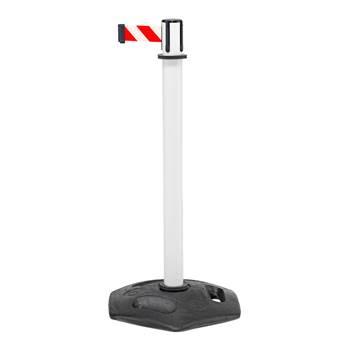 Avspärrningsband på stolpe och gummerad gjutjärnsfot, vit, röd/vit