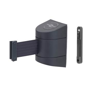 Outdoor wall-mounted belt barrier, L 9000 mm, black
