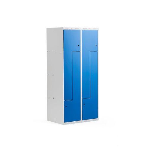 Z-pukukaappi, 2 osaa, 4 lokeroa, ovet sinistä terästä
