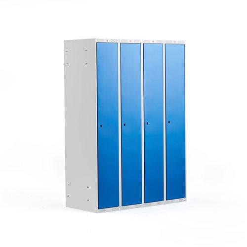 Szafka do przebieralni - 4 sekcje, Kolor drzwi, Niebieski