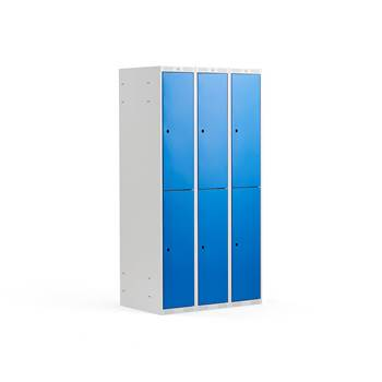 2 door locker, 3 modules, 1740x900x550 mm, blue