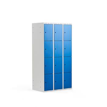 4 door locker, 3 modules, 1740x900x550 mm, blue