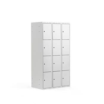 Småfackskåp, 300 mm, 3 sektioner, 12 fack, grå