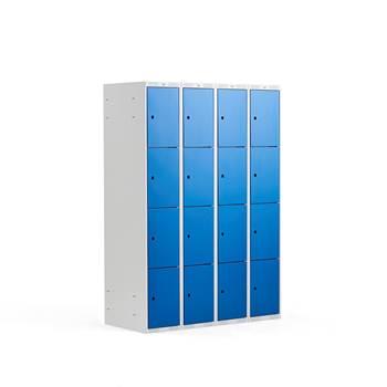 Småfackskåp, 300 mm, 4 sektioner, 16 fack, blå