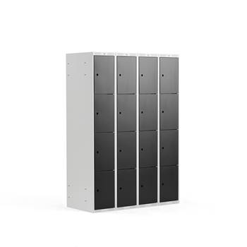 4 door locker, 4 modules, 1740x1200x550 mm, black