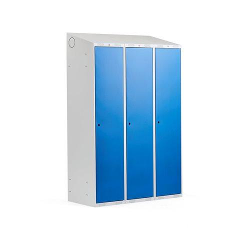 Szafka do przebieralni - 3 sekcje 1900x550x1200mm, Kolor drzwi:, Niebieski