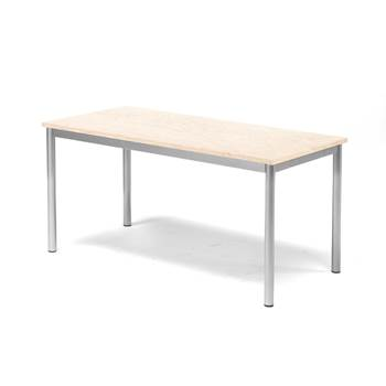 Pax table, 1200x600x600 mm, beige linoleum, alu grey