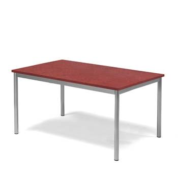 Pax table, 1200x800x600 mm, red linoleum, alu grey