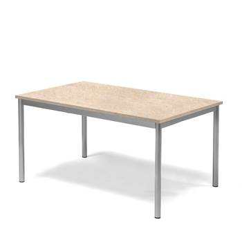 Pax table, 1200x800x600 mm, beige linoleum, alu grey