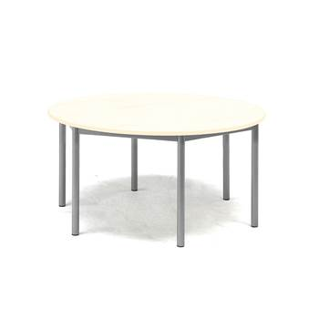 Pax table, Ø900x600 mm, birch laminate, alu grey