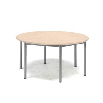 Pax table, Ø900x600 mm, beige linoleum, alu grey