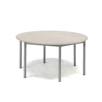 Pax table, Ø900x600 mm, grey linoleum, alu grey