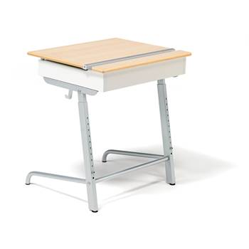 Abso sound absorbent student desk, silver, beech