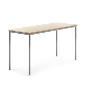 Stół Borås, 1800x700x900 mm, rama srebrna, dźwiękochłonny HPL, brzoza