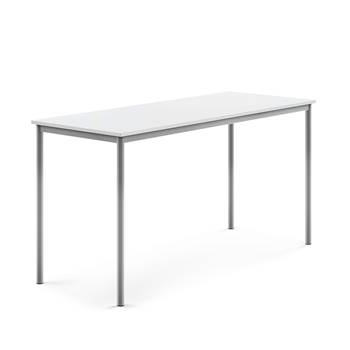 Stół Borås, 1800x700x900 mm, rama srebrna, dźwiękochłonny HPL, biały