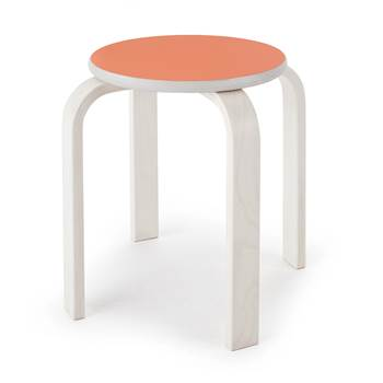 Björk wooden stool, H 350 mm, orange