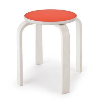 #e- Stool whitewashed. Seat Formica K1238. H. 350 mm