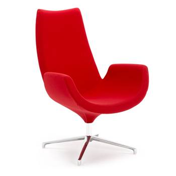 Modern lounge chair, red