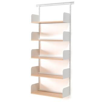 Wall mounted tall shelving unit, 800x300x1950 mm, beech, white