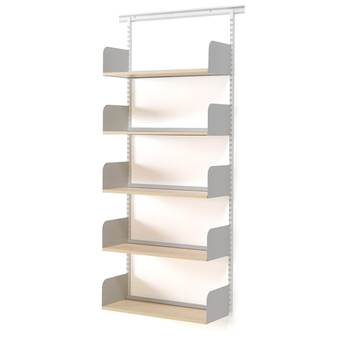 Wall mounted tall shelving unit, 800x300x1950 mm, birch, silver