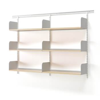 Wall mounted wide shelving unit, 1600x300x1230 mm, birch, silver