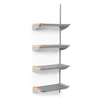 Jeppe cloakroom shelves, add-on unit, 600x1800 mm, beech, alu