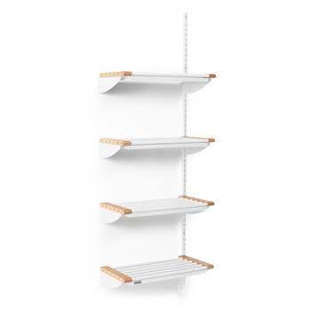 Skostativ Jeppe med drypplate, 600x1800 mm, 4 skohyller, påbyggseksjon, bøk