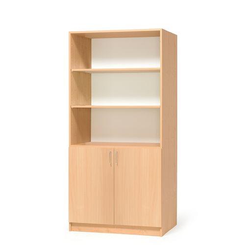 #sv Materialskåp 2 täckta dörrar och öppna  hyllor upptill b