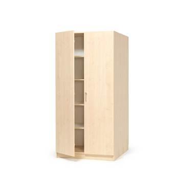 Materialskåp med hela dörrar, 2100x1000x600 mm, björk