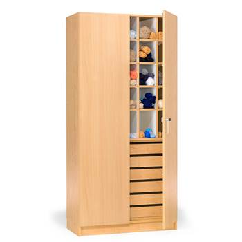 Textile cabinet with pigeon holes and drawers, 1000x470x2100 mm, beech