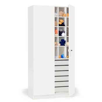 Textile cabinet with pigeon holes and drawers, 1000x470x2100 mm, white