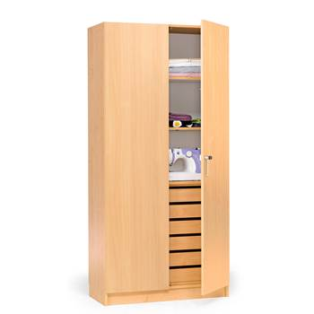 Textile cabinet with drawers and full height doors, 1000x470x2100 mm, beech