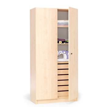 Textile cabinet with drawers and full height doors, 1000x470x2100 mm, birch