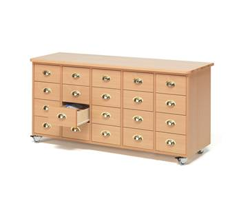 Mobile merchant chest, 20 drawers, cup handle, beech