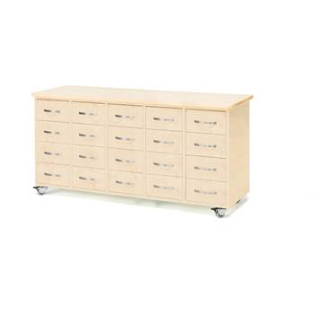 Mobile merchant chest, 20 drawers, bow handle, birch