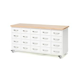 Komoda z szufladami, uchwyt łukowy, 20 szuflad, biały