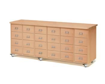 Komoda z szufladami, uchwyt z ramką na etykietę, 24 szuflady, buk