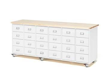 Komoda z szufladami, uchwyt z ramką na etykietę, 24 szuflady, biały